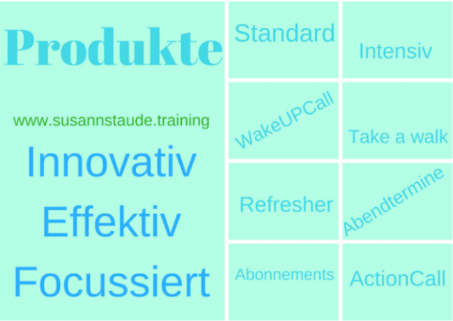Auflistung der Produkte: Standard, Intensiv, WakeUpCall, Refresher, ActionCall, Abonnements, Loveyourself, Take a Walk. Businesscoach, Work-Life-Balance, Headcoach, Seelencoach, Finanzcoach, Servicecoach,Personalcoach, Präventionscoach